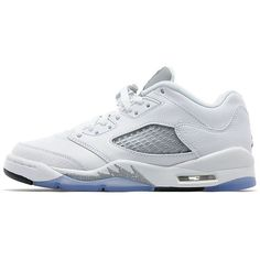Jordan Air Retro V Low ($110) ❤ liked on Polyvore featuring shoes, athletic shoes, retro style shoes, retro inspired shoes, leather upper shoes, black white shoes and jordan brand