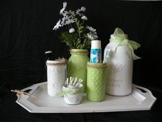 Set of Mason Jars with Metal Tray, Bathroom Set, Painted and Distressed Jars, Upcycled and Repurposed Home Decor by DesignCreateInspire on Etsy