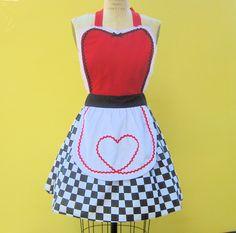 apron QUEEN Of HEARTS  .... Retro apron sexy hostess bridal shower gift womens flirty costume full aprons. $28.50, via Etsy.