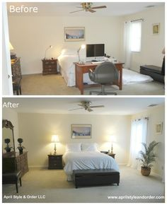 Master Bedroom Before Staging and After.
