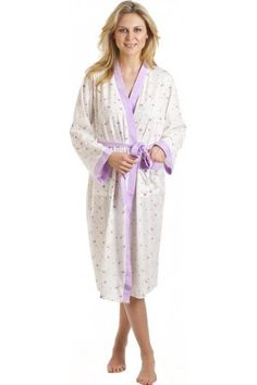 Camille White And Lilac Floral Print Jersey Bathrobe Airmail c019abe1c