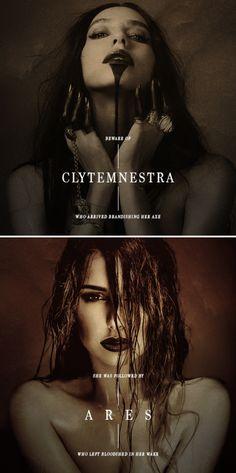 Greek Mythology: Femslash Edition ↳ Clytemnestra / fem!Ares I. Clytemnestra's…