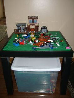 Genius!  $8 Lack side table from Ikea, add adhesive putty to 4 Lego bases to make your own table.  When they outgrow the legos, you can re-use or donate the table.