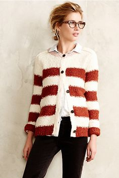 Striped Boucle Cardigan #anthropologie #anthrofave