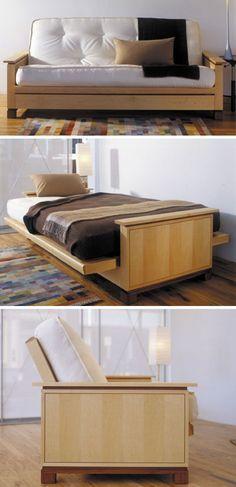 Futon cama Woodworking plano, interior casa quarto projeto plano madeira loja de móveis