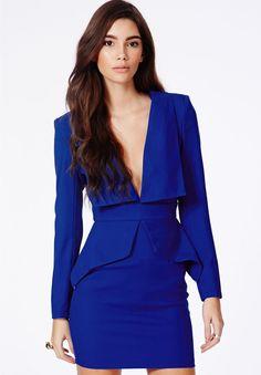 Blue V Neck Long Sleeve Slim Bodycon Dress