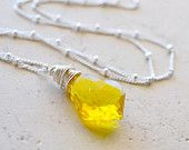 Yellow Crystal Necklace, Bright Yellow Jewelry, Sterling Silver and Yellow Necklace, Citrine Swarovski Crystal, Sunshine Yellow Necklace