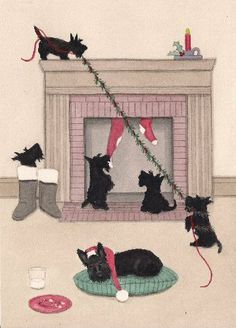 "12 Christmas Cards: Scottish Terrier (scottie) family guards fireplace / Lynch folk art by Lynch. $14.99. Pack of 12 Christmas cards (with envelopes) are created from a watercolor painting by award-winning artist Cindi Lynch, who is known for her whimsical, highly detailed work. Cards are professionally printed on high quality card stock. They are 5.5 by 4.25 inches. Inside it says ""Pulling for a great Christmas..."" We gladly combine shipping on multiple purchases. We char..."