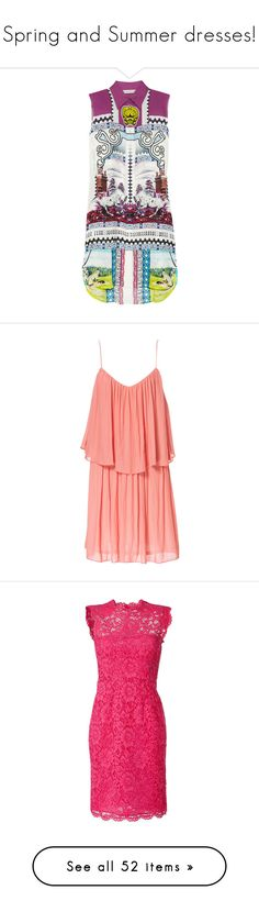 """""""Spring and Summer dresses!"""" by mariakrt85 ❤ liked on Polyvore featuring dresses, tops, vestidos, violet, violet dress, semi sheer dress, multicolored dress, shirt dress, loose fitting dresses and robes"""