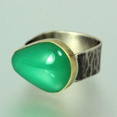 Chrysoprase Ring Apple Green Stone Ring Chrysoprase Gold
