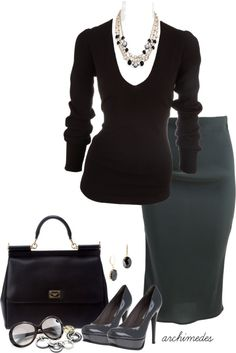 """""""Donna Karan for the Office"""" by archimedes16 on Polyvore (I'm too hippy for the skirt, but I like it)"""