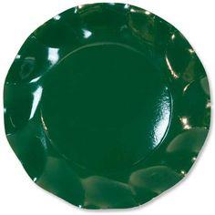 Stor Mørkegrøn Plastikbelagt Paptallerken - Single