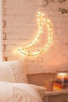 Ideas para decorar cuartos estilo tumblr decoración de habitaciones para adolescentes mujeres luna luminosa con luces led en pared blanca