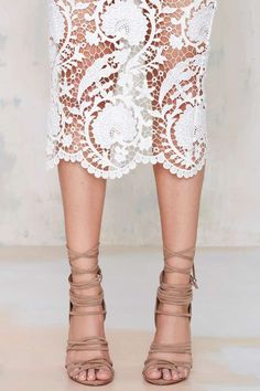Wrap Heels & Lace Skirt