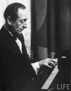 Pianist Vladimir Horowitz playing the piano at his home in New York.
