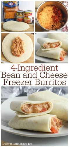 These Bean and Cheese Freezer Burritos only cost and make a quick and frugal lunch or dinner on the go or at home! Find the recipe on gracefullittlehon… Budget Freezer Meals, Freezer Friendly Meals, Freezer Cooking, Frugal Meals, Quick Meals, Cooking Recipes, Freezer Dinner, Kid Cooking, Freezable Meals