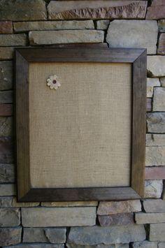 22x26 Beautiful Walnut Frame with burlap Cork Board by chasenlevi, $40.00