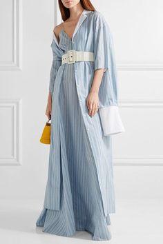 Rosie Assoulin - Schloppy Joe Belted Striped Cotton And Silk-blend Maxi Dress - Light blue - x small