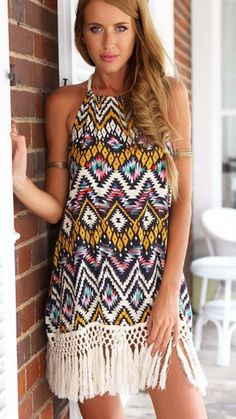 Western-Inspired Aztec Backless Shift Dress