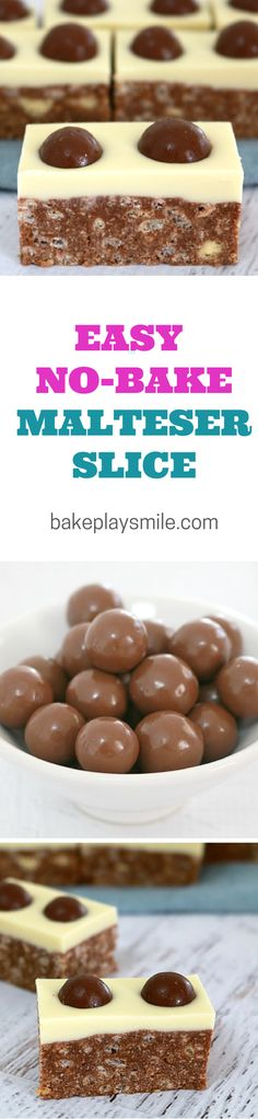 Malteser Slice – C… It's no surprise that this is the most popular recipe on Bake Play Smile. I love this No-Bake Malteser Slice so much… and have made it about a zillion times! Thermomix Desserts, Köstliche Desserts, Delicious Desserts, Dessert Recipes, Yummy Food, Malteser Slice, Malteser Cupcakes, No Bake Slices, Cake Stall