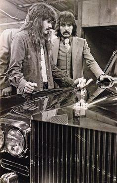 Tony Iommi in a photo shoot for a Rolls Royce calendar.