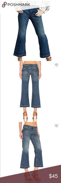 Free People CHELSEA Crop Flare Jean * Button fly  * 100% cotton  * Front and back pockets * Light fading and whiskering detail * Raw cut hem Free People Jeans Ankle & Cropped