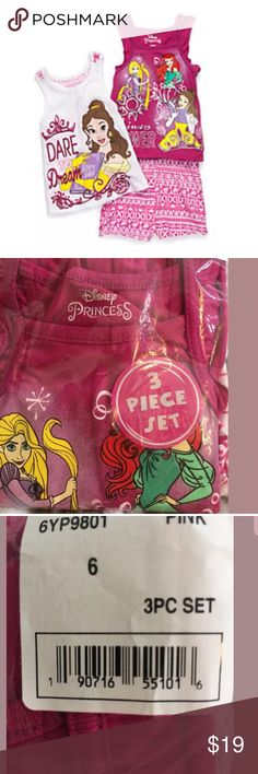 New 3 pc Girls DISNEY Princess Size 6 Short Set If your little lady adores Disney® princesses, this empowering three-piece tank top and short set was made just for her. One tank features three of her favorite princesses, while the other tank features Belle encouraging her to dream big. The patterned shorts round out this set that will create a multitude of outfits she'll love to wear all season long. 3-piece set Top: pullover, scoop neck, sleeveless Shorts: elastic waistband Machine washable…