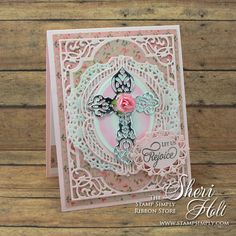 Stamp Simply Ribbon Store Easter Let Us Rejoice sentiment clear stamps with Spellbinders dies.