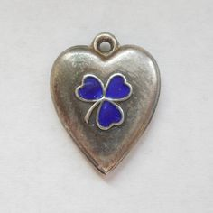 Smaller Victorian Sterling Silver Puffy Heart Charm - Blue Enamel Clover
