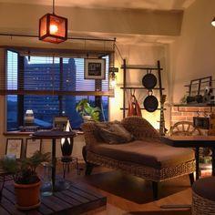 LACROWAさんの、観葉植物,IKEA,間接照明,一人暮らし,マンション,セリア,リゾート,賃貸,エアプランツ,インダストリアル,アジアン家具,メンズ部屋,バリ風,ブルックリンスタイル,壁紙レンガ,オリジナルパネル,Philips Hue,のお部屋写真