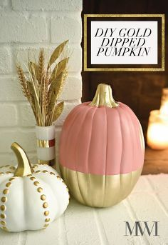 chic coral gold glam fall tour falltourbloghop, crafts, fireplaces mantels, foyer, home decor, how to, Simple DIY Gold Dipped Pumpkin