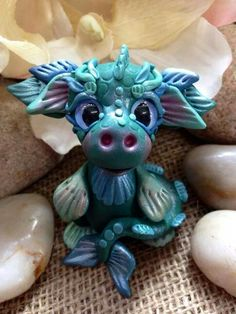 Cute little blue polymer clay dragon | ♥ the details on this!