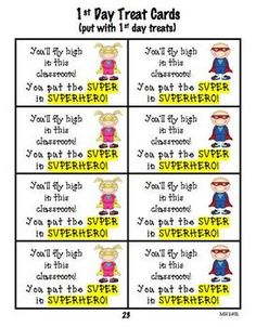 BACK TO SCHOOL PACK SUPERHERO THEME - This Back to School Pack makes the first couple of days fun for everyone.  Getting to know you activities, cooperative group work, treat cards, interest inventory, mini-scrapbook pages, etc. $