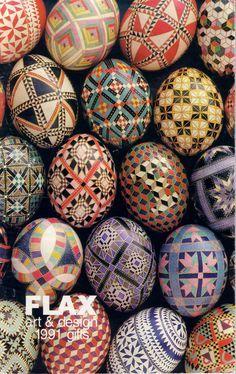 pysansky | geometric mosaic style painted Easter eggs | deep gem colors