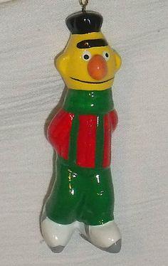www.jaedasplaythings.com BERT Ornament Ceramic Vtg Skating Hand Painted Sesame Street Muppets Inc #Muppets