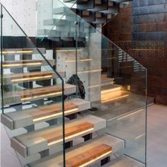 Automatic Stair Lighting, Automatic Light Stairs, Illumination Of Stair Steps. Railing Design, Staircase Design, Marble Staircase, Escalier Design, Glass Stairs, Glass Railing, Interior Staircase, Steel Stairs, Stair Handrail