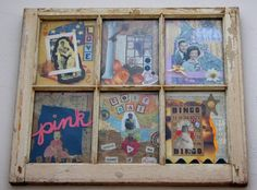 Old window + add your child's artwork = would be priceless.  OR... postcards of places you've traveled..