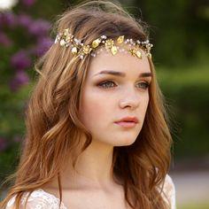 Gold bridal vine Gold leaf headband by AnnAccessoriesStudio