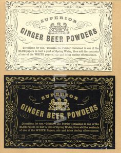 Victorian labels for Ginger Beer Powders