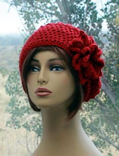 33773e2237c Womens Hat Crochet Beanie flower hat cranberry red hat womens boho hat  womens accessory fashion hats