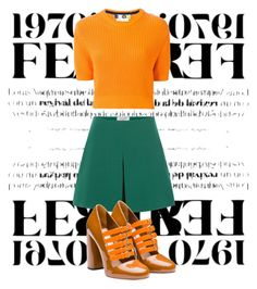"""Untitled #128"" by ayechic on Polyvore featuring Valentino, Miu Miu, MSGM, orange, fallstyle and fall2015"