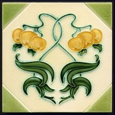 Art Nouveau Majolica Tile - Date: 1905 (circa) - Motifs Art Nouveau, Azulejos Art Nouveau, Art Nouveau Tiles, Art Nouveau Design, Antique Tiles, Vintage Tile, Tile Art, Mosaic Art, Craftsman Tile