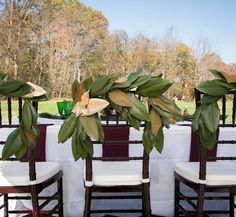 Chiavari Chair Decor | Magnolia Leaf Garland | Cream + Marsala | Fall Wedding Ideas | The Lily Pad, Whitsett, NC | A Touch of Southern Events