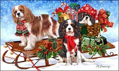 Papillon Christmas Holiday Cards are 8 x 5 and come in packages of 12 cards. One design per package. All designs include envelopes, your personal message, and choice of greeting. Cavalier King Charles Blenheim, King Charles Spaniel, Christmas Puppy, Christmas Animals, Vintage Christmas, Christmas Cards, Illustration Noel, Papillon Dog, Japanese Chin