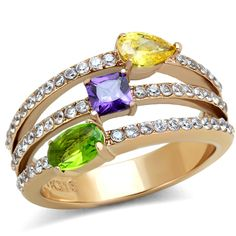 This beautiful cocktail ring boasts all the colors of the rainbow with its sparkling CZ stones in a wide array of colors. This ring also features IP rose gold plating atop a stainless steel base for exceptional shine and luster. Wear this ring for a special night out with a fun dress and some heels for a memorable outfit everyone will remember.