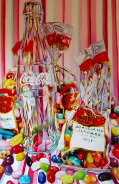 jelly belly and cola by Kate Brinkworth ~ oil on canvas ~ still life hyper-realistic art ~ glass bottle & candy