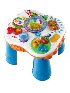 This activity table is adorable and keeps Grant occupied for hours! There can never be enough fun! He loves singing along and saying the words! Easy to take places also so often times Mommy and Daddy take Grants favorite toy with him!