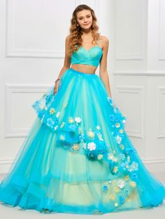 Sweet V-Neck Flower Applique Lace-Up Ball Gown Dress 11435413 - Quinceanera Dresses - Dresswe. Ball Gown Dresses, 15 Dresses, Fall Dresses, Fashion Dresses, Quinceanera Dresses, Homecoming Dresses, Quinceanera Ideas, Prom, Gown Dress Online