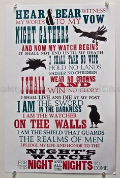 Oath of the Night's Watch 12.5x19 Broadside linoleum block letterpress book nerd geekery Game of Thrones George R.R. Martin Vandercook print...