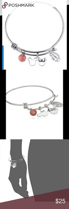 Mickey & Minnie Mouse Happily Ever After Bangle Great as a gift or a treat for yourself. Disney 2.25 in. in diameter stainless steel bangle bracelet features a Mickey Mouse & Minnie Mouse charm, Happily Ever After U & I charm & a cherry quartz bead. Gift box included. Has an Alex and Ani Bracelet look. Disney Jewelry Bracelets